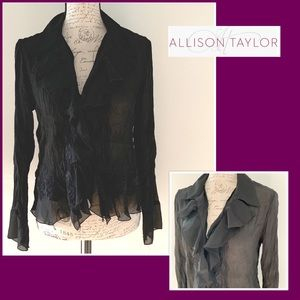 Allison Taylor Black Ruffle Blouse